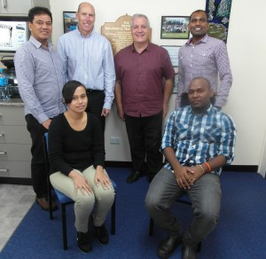 Back Row- PPTC Staff: Filipo Faiga, Russell Cole (Tutor), Phil Wakem, Navin Karan Front Row: Students: Tagi Sapini (Samoa); Rhomson Nuake (Solomon Islands)