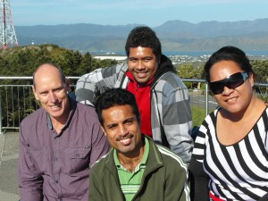 PPTC Tutor and Students at Mount Victoria L-R: Russell-PPTC, Bernard-Kiribati, Felix-Tuvalu, Seni-Tonga