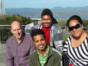 PPTC Tutor and Students at Mount Victoria L-R: Russell-PPTC, Bernard-Kiribati, Felix-Tuvalu, Seni-Tonga